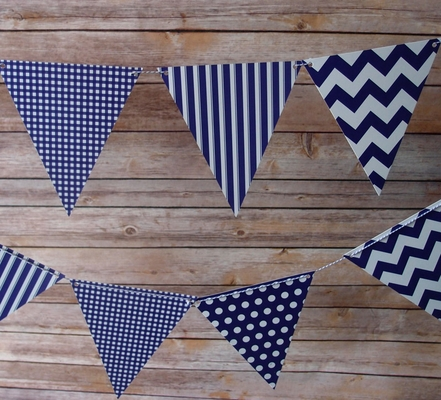 Purple Mix Pattern Triangle Flag Pennant Banner 11ft