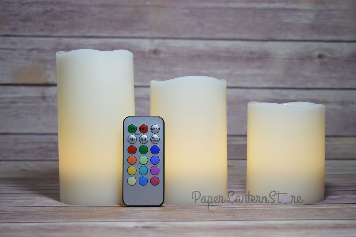 realistic wax 12 color flameless led candle light w remote timer 3 pack rgb ebay. Black Bedroom Furniture Sets. Home Design Ideas