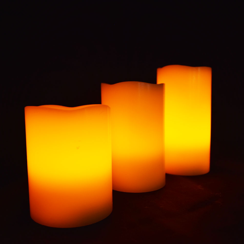 realistic wax flameless led candle light w remote timer 3 pack warm white ebay. Black Bedroom Furniture Sets. Home Design Ideas