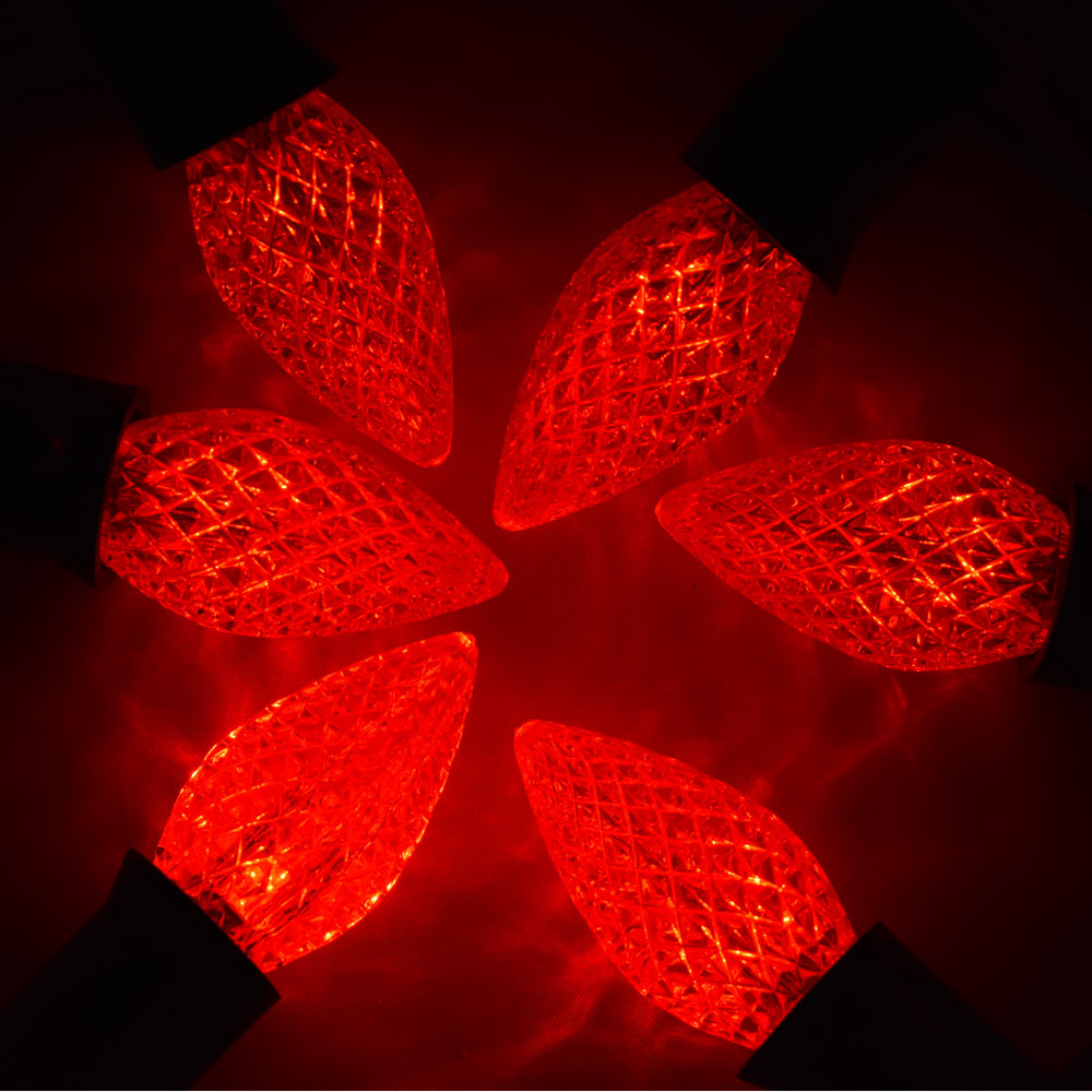 replacement red 3 led c7 faceted christmas light bulbs e12 base 25 pack