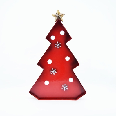 red christmas tree holiday metal led marquee light sign 14 inch battery operated on sale now. Black Bedroom Furniture Sets. Home Design Ideas