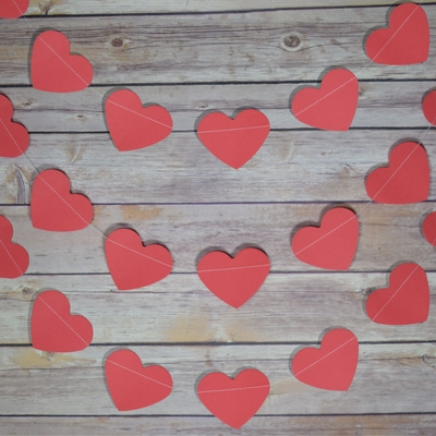 Red Heart Shaped Paper Garland Banner 10ft On Sale Now