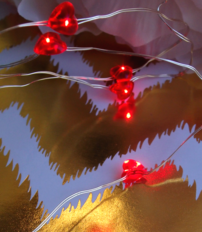 20 Red Heart LED Fairy String Lights, Wire (4ft, Battery Operated) eBay