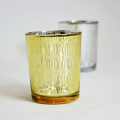 Renaissance Votive Tea Light Glass Candle Holder Gold 2