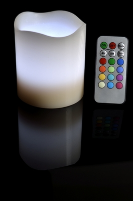 Round Pillar Flameless Led Candle Color Changing Flame W