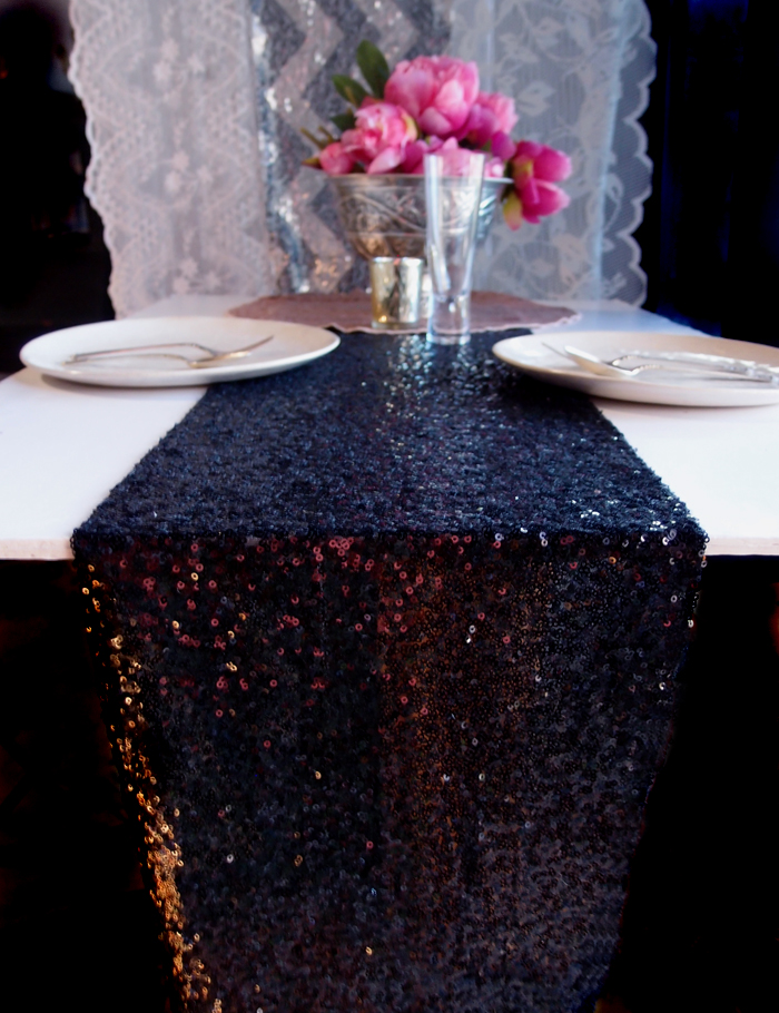 Sequin table runner black 12 x 108 ebay for 108 table runner