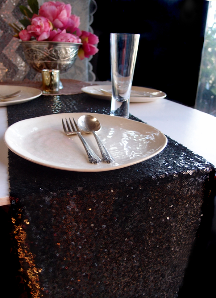 Sequin table runner black 12 x 108 for 108 table runner