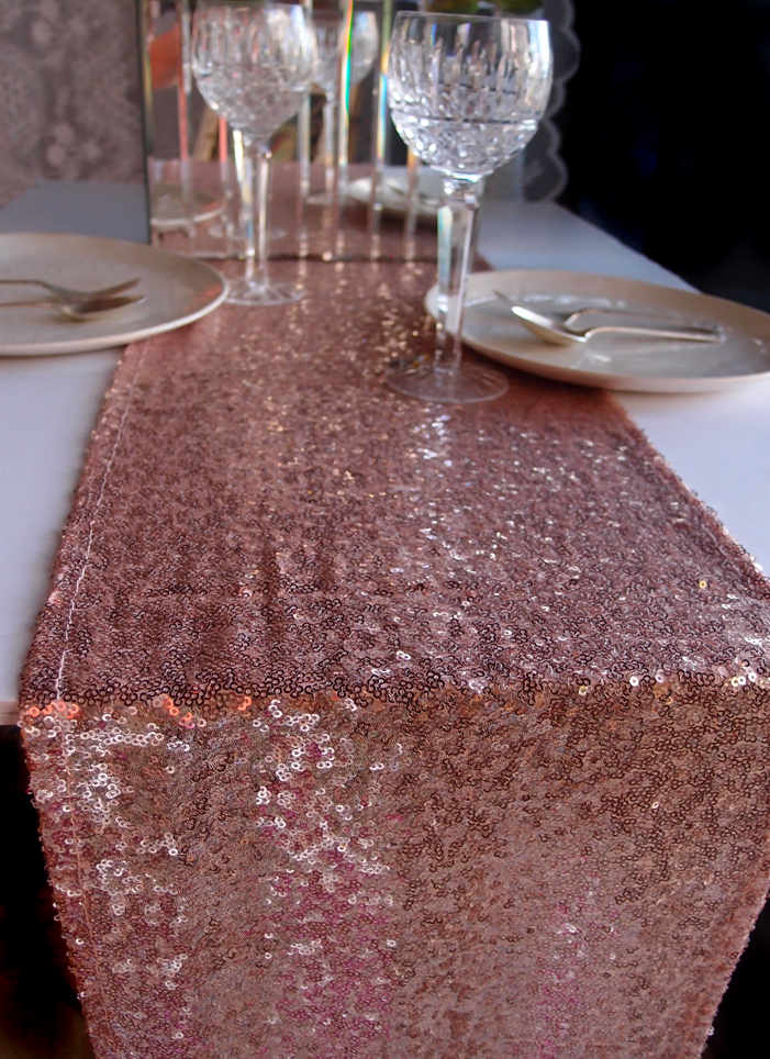 Sequin table runner copper 12 x 108 for 108 table runner