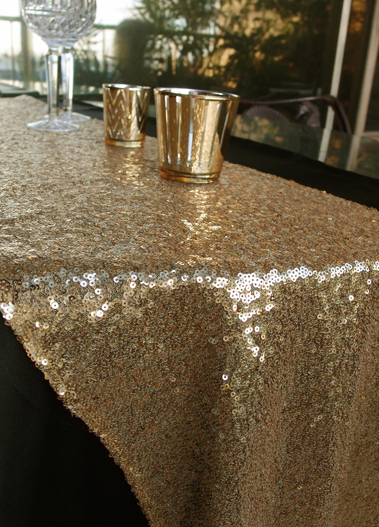 Sequin table runner gold 12 x 108 for 108 table runner