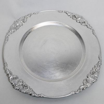 Silver Heavy Duty Charger Plate with Medieval Trim (13 Inch) - Rustic Brushed Finish & Charger Plates - Wholesale - Paper Lantern Store