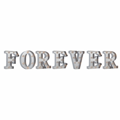 Silver Marquee Light Word Forever Led Metal Sign 8 Inch