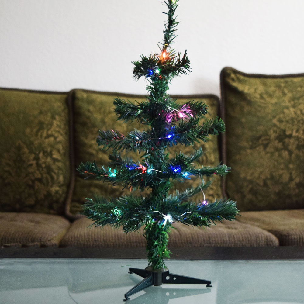 "Small Battery Operated Christmas Tree: 18"" Multi Color C LED Lighted Desktop Christmas Tree W"