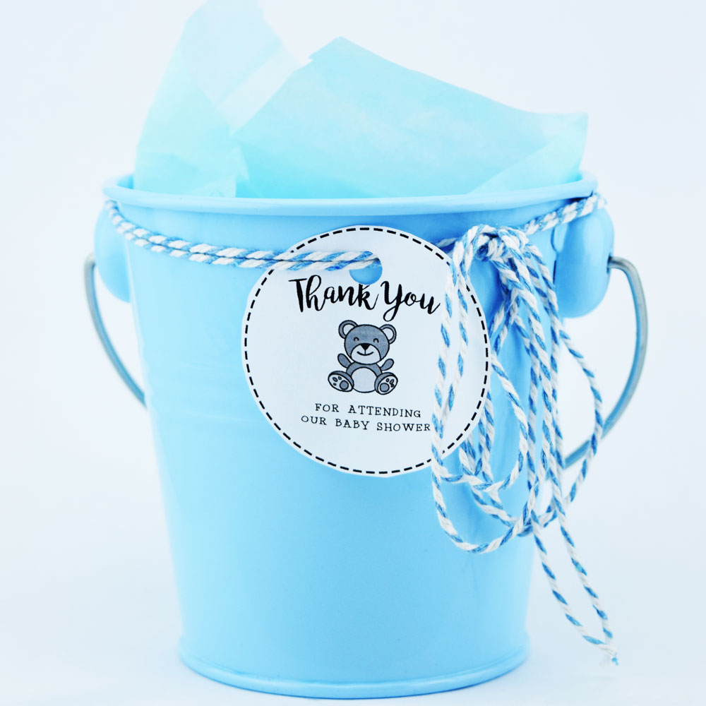 Small 4 Blue Metal Pail Bucket Party Favor With Handle