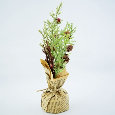 small 9 desktop christmas tree pine and holly in newspaper pot decoration on sale now from paperlanternstore - Desktop Christmas Tree
