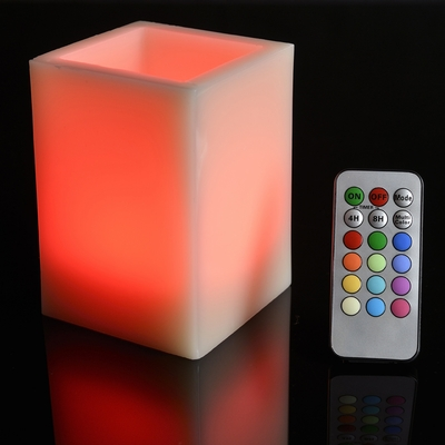 Square Pillar Flameless Led Candle Color Changing Flame