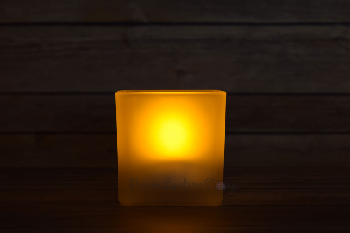Square tea light flameless led candle in frosted glass for Warm cheap places to live