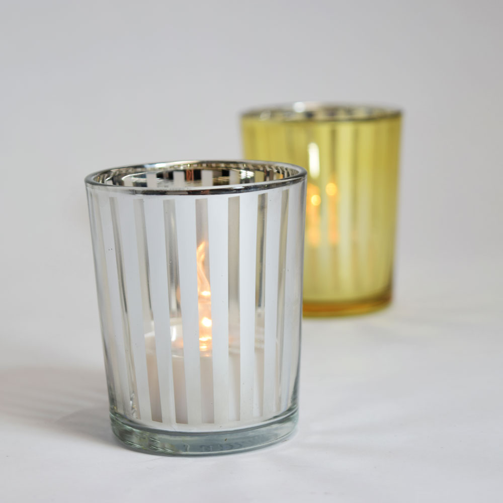 stripe votive tea light glass candle holder silver 2 5
