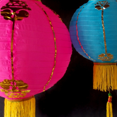 Traditional Chinese Paper Lanterns With Tassels
