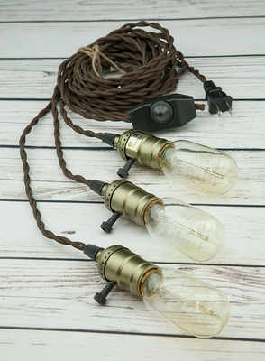 Triple Copper Socket Vintage Style Pendant Light Cord W