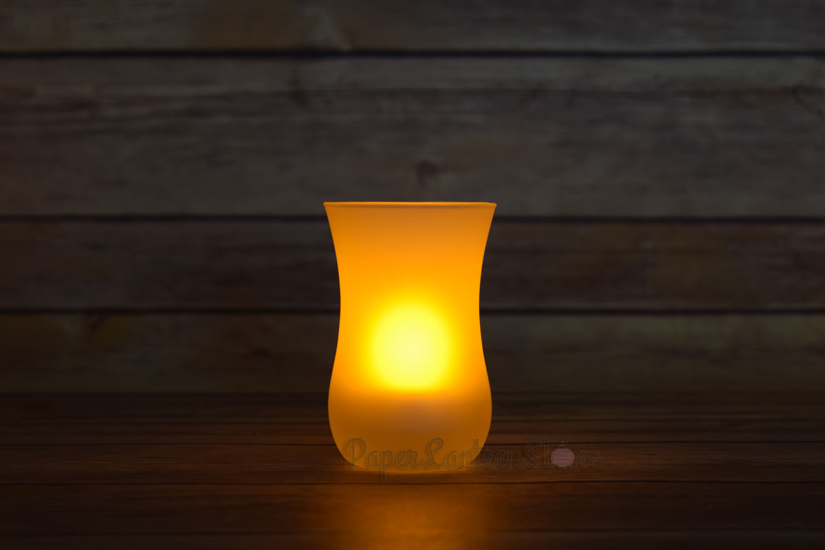 Vase tea light flameless led candle in frosted glass for Warm cheap places to live