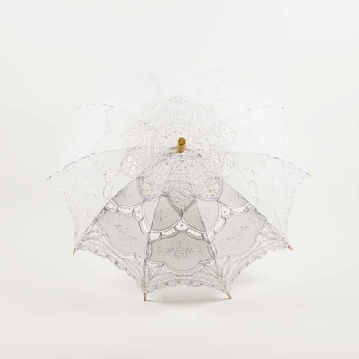 30 Inch White Lace Cotton Fabric Parasol Umbrella W Metal