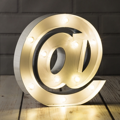White Marquee Light Symbol At Web Internet Led Metal
