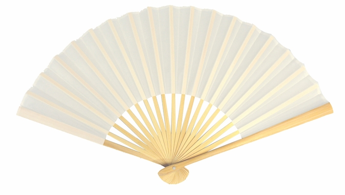 9 Inch White Silk Hand Fans For Weddings 10 Pack