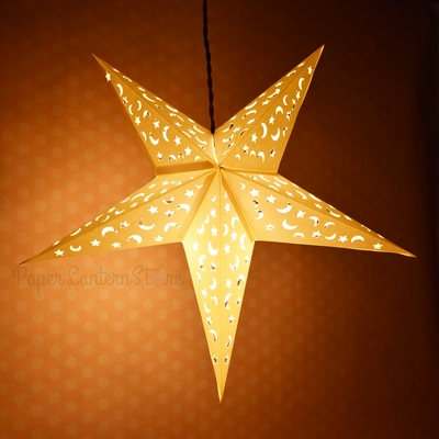 24 Inch White Star Moon Cut Out Paper Star Lantern