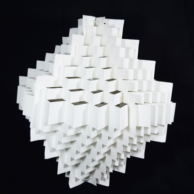 White Stepping Cube Geometrical Shaped Folded Paper
