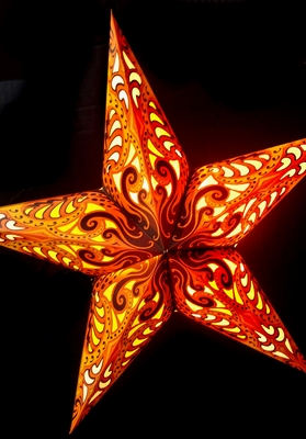 Yellow Splash Paper Star Lantern Hanging Light Not