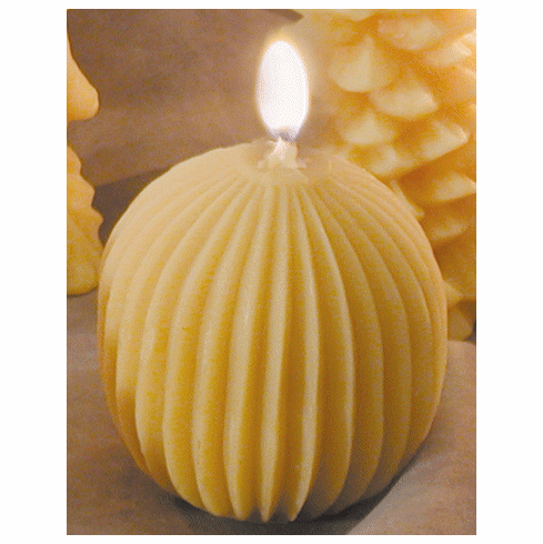 Beeswax Candle - Round, Vertical Fluting
