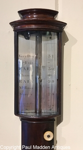 Antique 19th C. Bowfront Stick Barometer Signed Worthington & Allan
