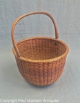 "Antique 5"" Round Nantucket Lightship Basket by Ferdinand Sylvaro"