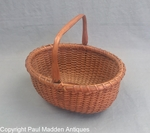 "Antique 7"" Oval Nantucket Lightship Basket by Mitchy Ray"