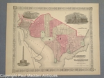 Antique Map of Georgetown & Washington 1866
