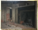 Antique Oil Painting of Interior Hearth by James Walter Folger
