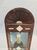 Antique Scrimshaw Decorated Wall Mirror Candle Sconce