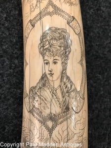 Antique Scrimshaw Walrus Tusk with Victorian Lady