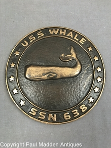 Cast Bronze USS Whale SSN 638 Medallion Plaque