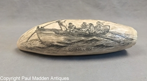 Going On - Vintage Scrimshaw Tooth by William Perry