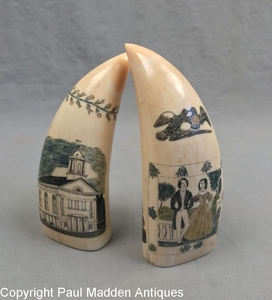 Pair Antique Polychrome Scrimshaw Teeth