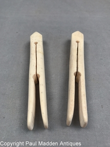 Pair of Antique Scrimshaw Whalebone Clothespins