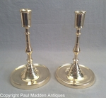 Rare 16th C. Matching Pair of Flemish Brass Candlesticks