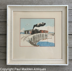 Vintage Watercolor of Nantucket Railroad by D.R. Beers