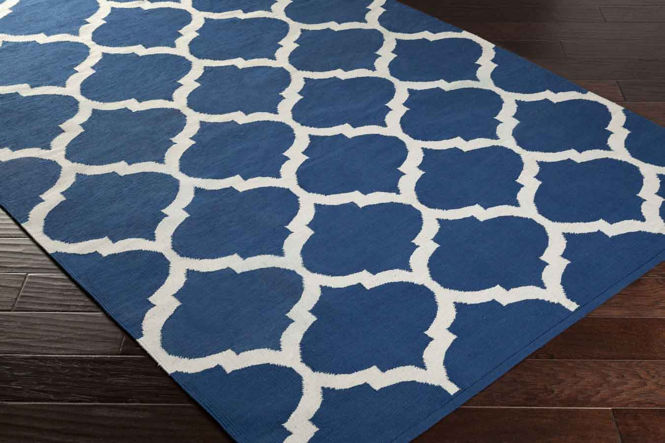 Artistic weavers vogue everly awlt3005 blue white area rug for Blue and white carpet