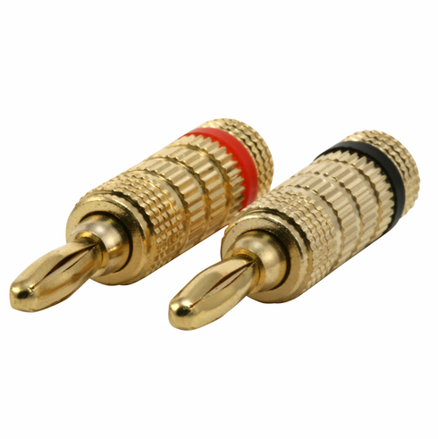 1 Pair of High Quality Gold Plated Banana Plugs, Closed Screw Type