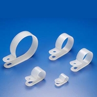 "1"" R-Type Clear Cable Clamp - 100 Pack"