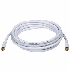 10 Foot Premium 18AWG RG6 CL2 (In-Wall) Quad Shield Gold Plated Coax Cable - White