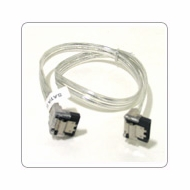 "18"" SATA II Data Cable, Clear Silver, w/Latch, Right Angle to Right Angle"