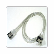 "18"" SATA II Data Cable, Clear Silver, w/Latch, Right Angle to Straight"